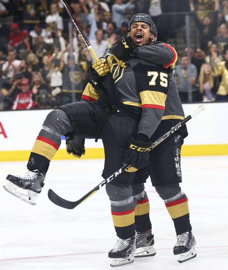 Golden Knights right wing Ryan Reaves (75) celebrates his goal against the Washington Capitals with left wing Pierre-Edouard Bellemare during the third period of Game 1 of the NHL hockey Stanley C ...