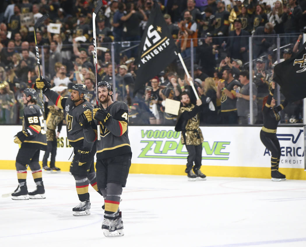 Golden Knights players celebrate after defeating the Washington Capitals in Game 1 of the NHL hockey Stanley Cup Final at the T-Mobile Arena in Las Vegas on Monday, May 28, 2018. Chase Stevens Las ...