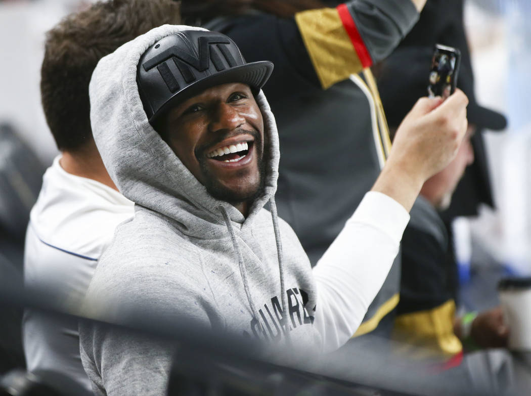 Floyd Mayweather attends Game 1 of the NHL hockey Stanley Cup Final between the Golden Knights and Washington Capitals at the T-Mobile Arena in Las Vegas on Monday, May 28, 2018. Chase Stevens Las ...