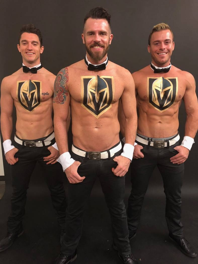 """Members of """"Chippendales"""" at the Rio, from left, Tyler Froelich, Ryan Kelsey, Ryan Worley are shown with their temporary VGK logo body paint. (Chippendales)"""