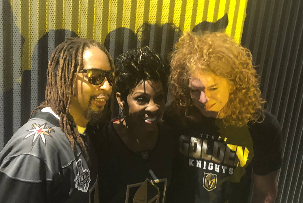 Lil Jon, Gladys Knight and Carrot Top are shown at T-Mobile Arena during Game 1 of the Stanley Cup Final between the Golden Knights and Washington Capitals on Monday, May 28, 2018. (John Katsilome ...