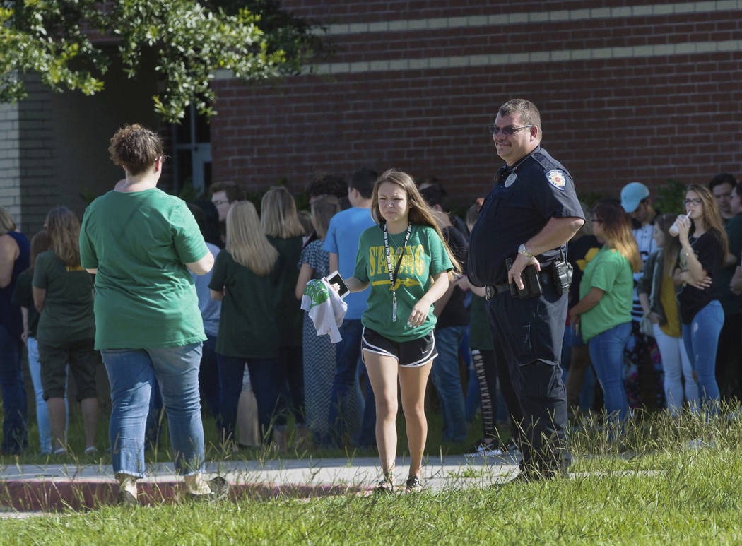 Santa Fe High School students return to school, Tuesday, May 29, 2018, in Santa Fe, Texas. This marked the first day of class at the school since the mass shooting that several people. (Marie D. ...