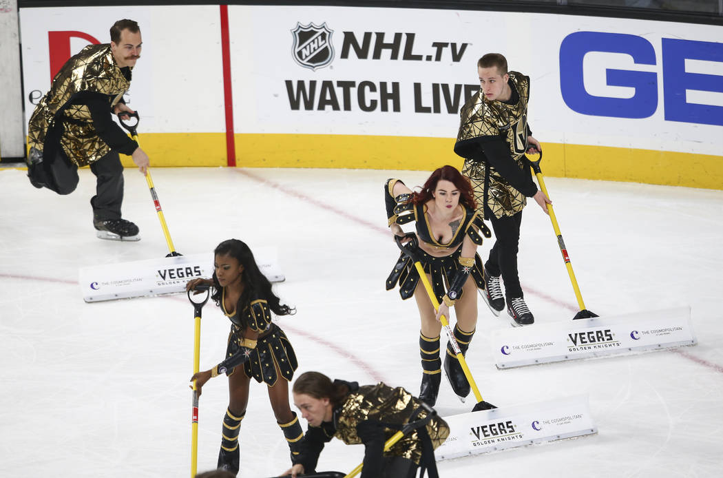 Members of the ice crew during an NHL hockey game between the Golden Knights and Colorado Avalanche at T-Mobile Arena in Las Vegas on Friday, Oct. 27, 2017. Chase Stevens Las Vegas Review-Journal ...