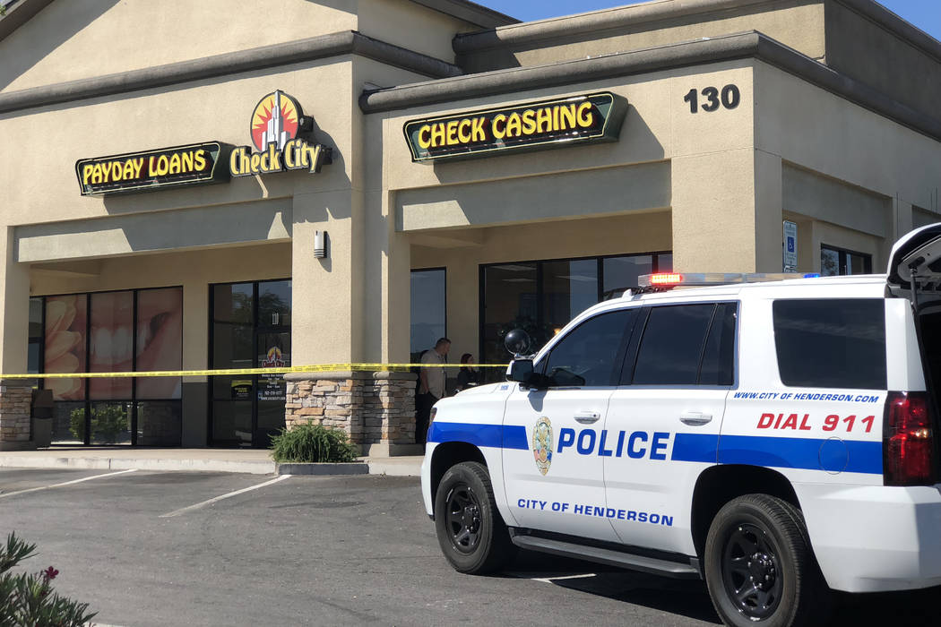 Henderson police are investigating an armed robbery that was reported Tuesday morning. (Rio Lacanlale/Las Vegas Review-Journal) @riolacanlale