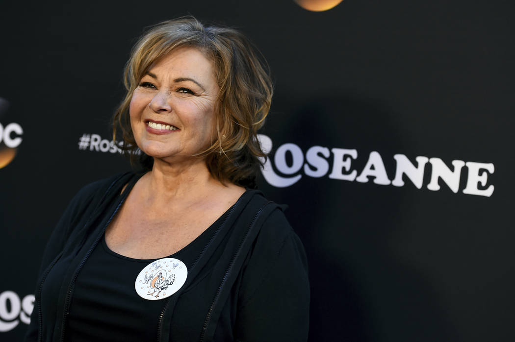 "Roseanne Barr arrives at the Los Angeles premiere of ""Roseanne"" in Burbank, Calif., March 23, 2018. Barr has apologized for suggesting that former White House adviser Valerie Jarrett is a product ..."