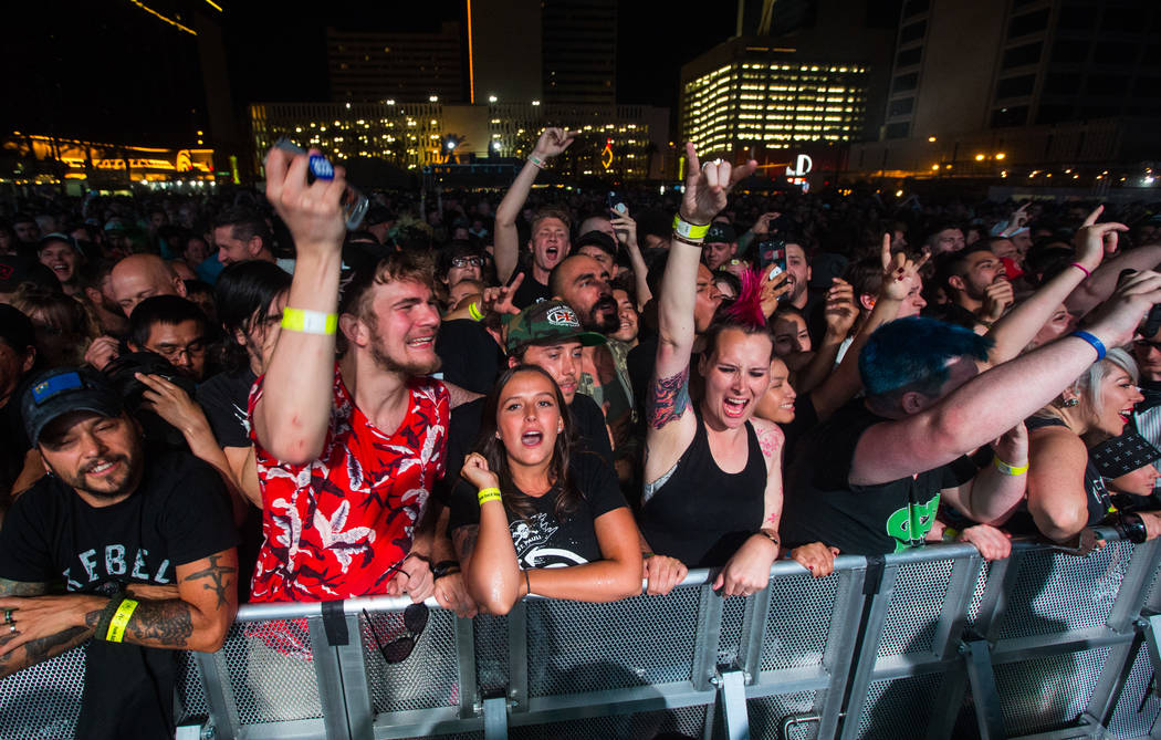 Attendees react as Rise Against performs during the first day of the Punk Rock Bowling music festival in downtown Las Vegas on Saturday, May 26, 2018. Chase Stevens Las Vegas Review-Journal @csste ...
