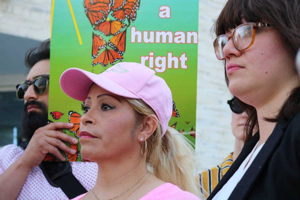 Cecilia Gomez left, and attorney Laura Barrera, right, at press conference in Las Vegas, Thursday, April 26, 2018. The conference was held to announce the filing of a Freedom of Information Act Re ...