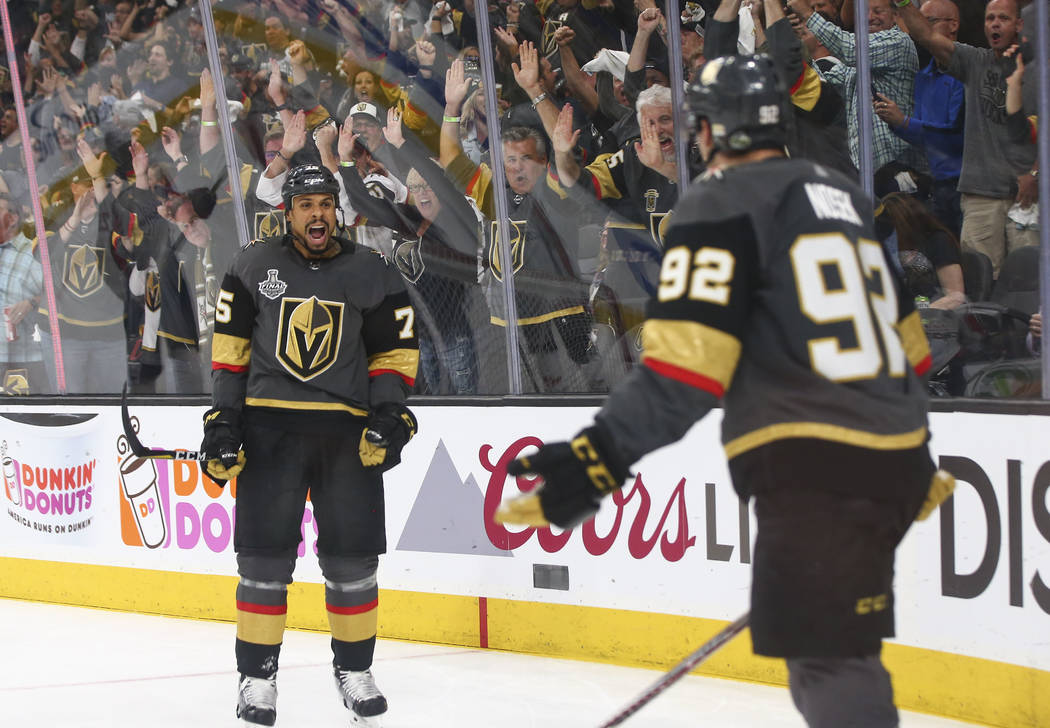 Golden Knights right wing Ryan Reaves (75) reacts to a goal by Golden Knights left wing Tomas Nosek (92) during the third period of Game 1 of the NHL hockey Stanley Cup Final against the Washingto ...