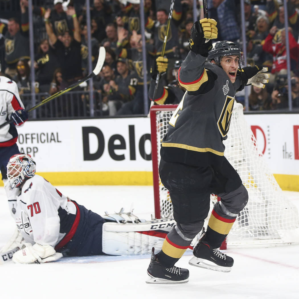 Golden Knights left wing Tomas Nosek (92) celebrates his goal against the Washington Capitals during the third period of Game 1 of the NHL hockey Stanley Cup Final at the T-Mobile Arena in Las Veg ...