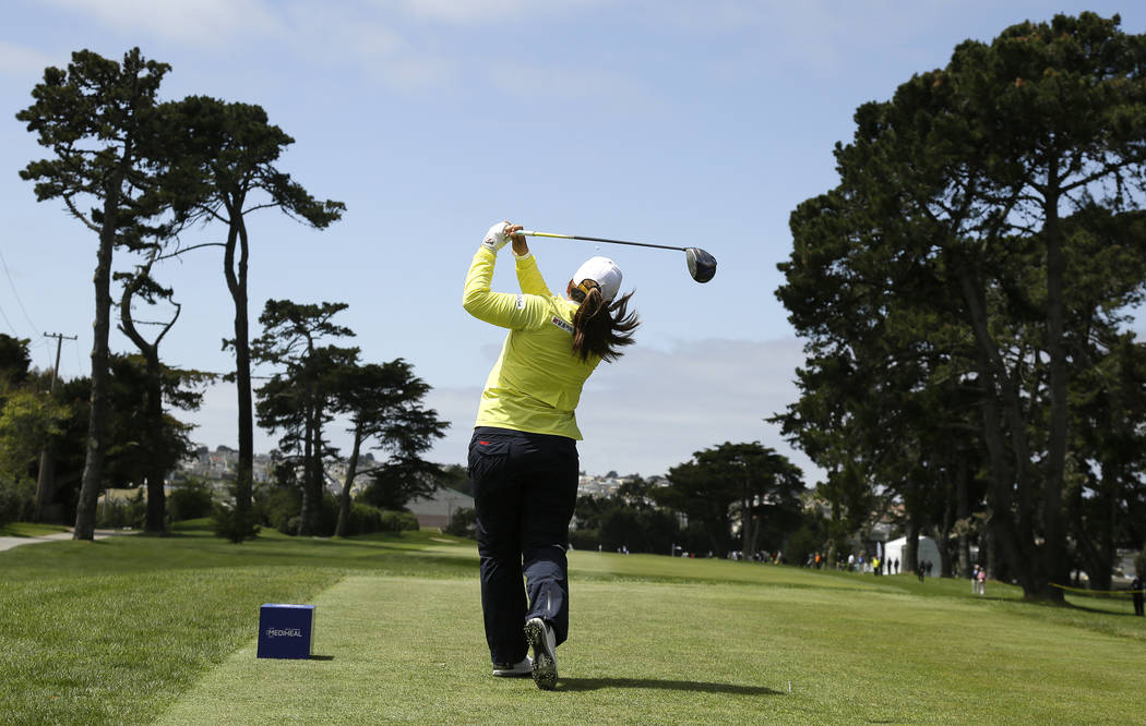 Inbee Park, of South Korea, follows her shot from the second tee of the Lake Merced Golf Club during the first round of the LPGA Mediheal Championship golf tournament Thursday, April 26, 2018, in ...