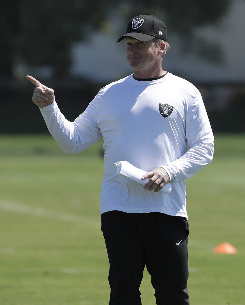 Oakland Raiders head coach Jon Gruden gestures during practice at the team's NFL football training facility in Alameda, Calif., Tuesday, May 29, 2018. (AP Photo/Jeff Chiu)