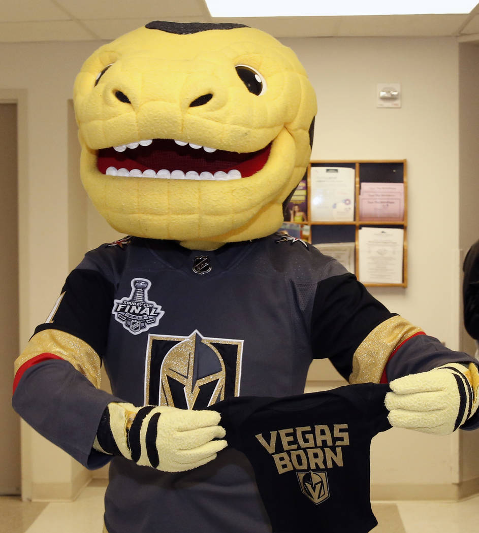Golden Knights mascot Chance arrives at Summerlin Hospital to deliver Vegas Born onesies to almost 100 newborns on Tuesday, May 29, 2018, in Las Vegas. Bizuayehu Tesfaye/Las Vegas Review-Journal @ ...