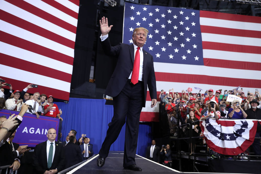 President Donald Trump arrives to speak at a rally at the Gaylord Opryland Resort and Convention Center, Tuesday, May 29, 2018, in Nashville, Tenn. (AP Photo/Andrew Harnik)