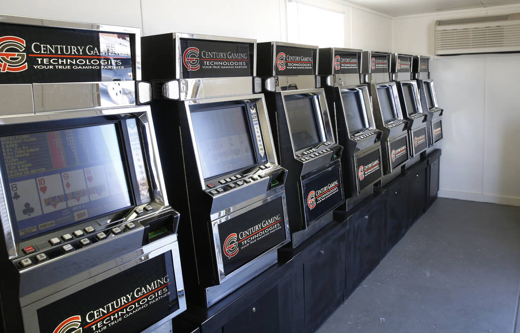 Slot machines are displayed inside a trailer on the Moulin Rouge site on Tuesday, May 29, 2018, in Las Vegas. Representatives of the trust that owns the Moulin Rouge site is required to operate so ...