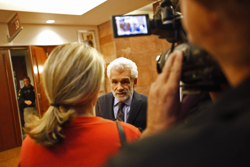 Benedict Morelli, lawyer for Gavin Cox, speaks to the media at the Regional Justice Center in Las Vegas, Tuesday, May 29, 2018. Gavin Cox sued illusionist David Copperfield for injuries he sustain ...