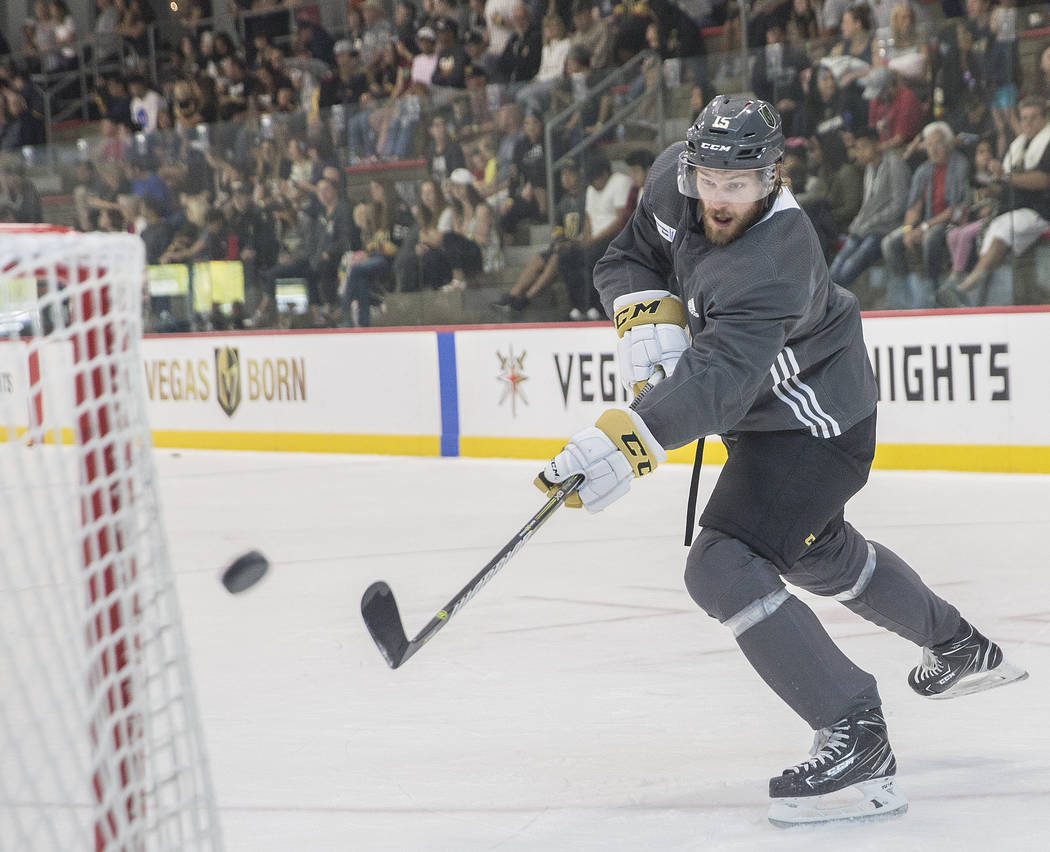 Golden Knights defenseman Jon Merrill (15) works on his shooting during practice at City National Arena on Tuesday, May 29, 2018, in Las Vegas. Benjamin Hager Las Vegas Review-Journal @benjaminhphoto