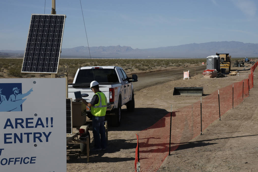 The construction site of a large solar projects in the El Dorado Valley photographed on Thursday, May 31, 2018, in Boulder City. Bizuayehu Tesfaye/Las Vegas Review-Journal @bizutesfaye