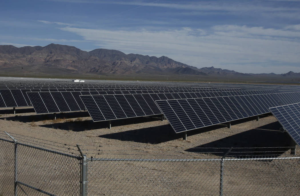 Copper Mountain Solar ll power plant is seen in El Dorado Valley on Thursday, May 31, 2018, in Boulder City. Bizuayehu Tesfaye/Las Vegas Review-Journal @bizutesfaye