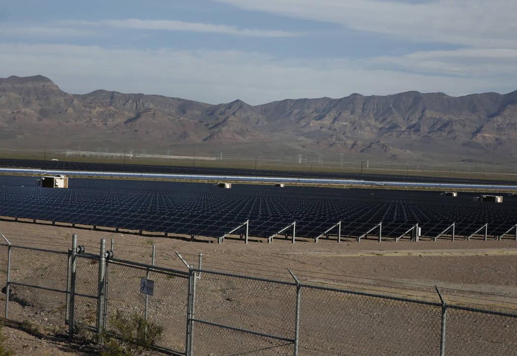 Copper Mountain Solar ll power plant is seen in El Dorado Valley on Thursday, May 31, 2018, in Boulder City. Bizuayehu Tesfaye/Las Vegas Review-Journal @bizutesfaye