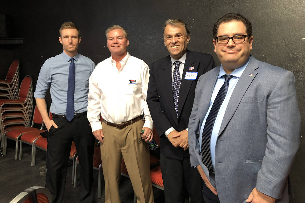 Congressional candidates Eric Stoltz, Jack Love, Richard Hart and Michael Weiss prepare to debate Tuesday at a candidate forum hosted by Paradise Las Vegas Indivisible at the Center for Science & ...
