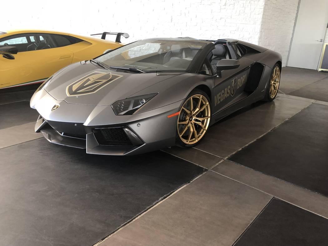 The Vegas Golden Knights' 2017 Lamborghini Aventador Roadster Convertible Lamborghini, donated for team use by Lamborghini Las Vegas of the Findlay Automotive Group. (John Katsilometes/Las Vegas R ...