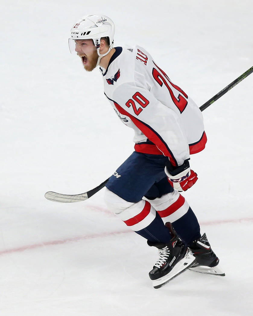 Washington Capitals center Lars Eller (20) celebrates his score against Vegas Golden Knights during the first period in Game 2 of the NHL hockey Stanley Cup Final at T-Mobile Arena in Las Vegas, W ...