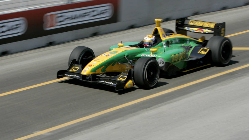 Champ Car driver Will Power, of Australia, drives his car during the Vegas Grand Prix auto race on Sunday, April 8, 2007, in Las Vegas. Power won the race. (AP Photo/Jae C. Hong)