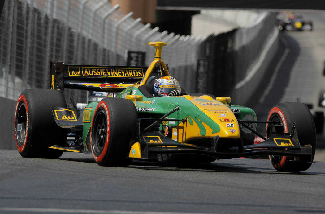 Champ Car driver Will Power, of Australia, drives his car during the Vegas Grand Prix auto racing on Sunday, April 8, 2007, in Las Vegas. Power won the race. (AP Photo/Jae C. Hong)