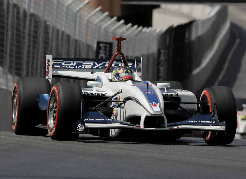 Champ Car driver Paul Tracy, of Canada, drives his car during the Vegas Grand Prix auto racing on Sunday, April 8, 2007, in Las Vegas. Tracy finished third. (AP Photo/Jae C. Hong)