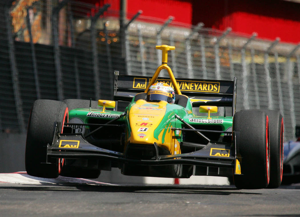 Champ Car driver Will Power drives his car during the Vegas Grand Prix auto race, Sunday, April 8, 2007, in Las Vegas. (AP Photo/Eric Jamison)
