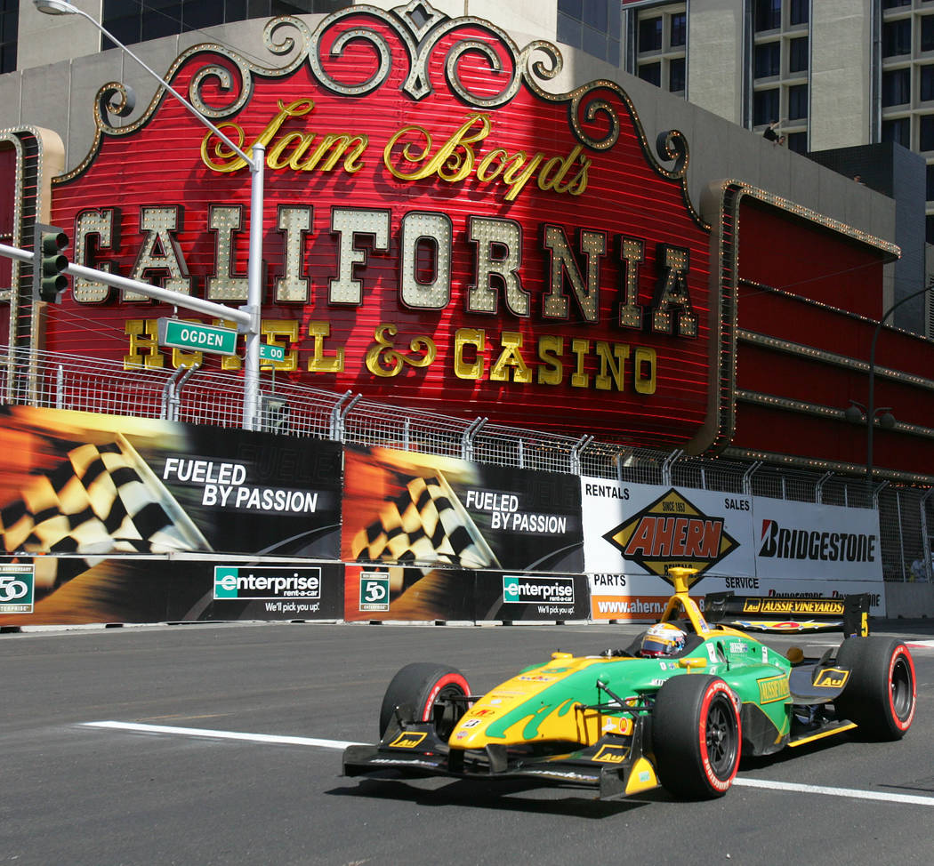 Champ Car driver Will Power drives his car through downtown Las Vegas during the Vegas Grand Prix auto race, Sunday, April 8, 2007. (AP Photo/Eric Jamison)