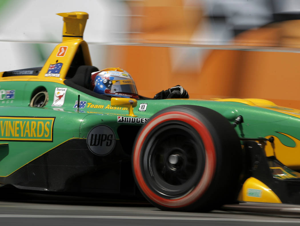 ** FILE ** Champ Car driver Will Power, of Australia, drives his car during the Vegas Grand Prix auto race in Las Vegas, in this April 8, 2007 file photo. (AP Photo/Jae C. Hong)
