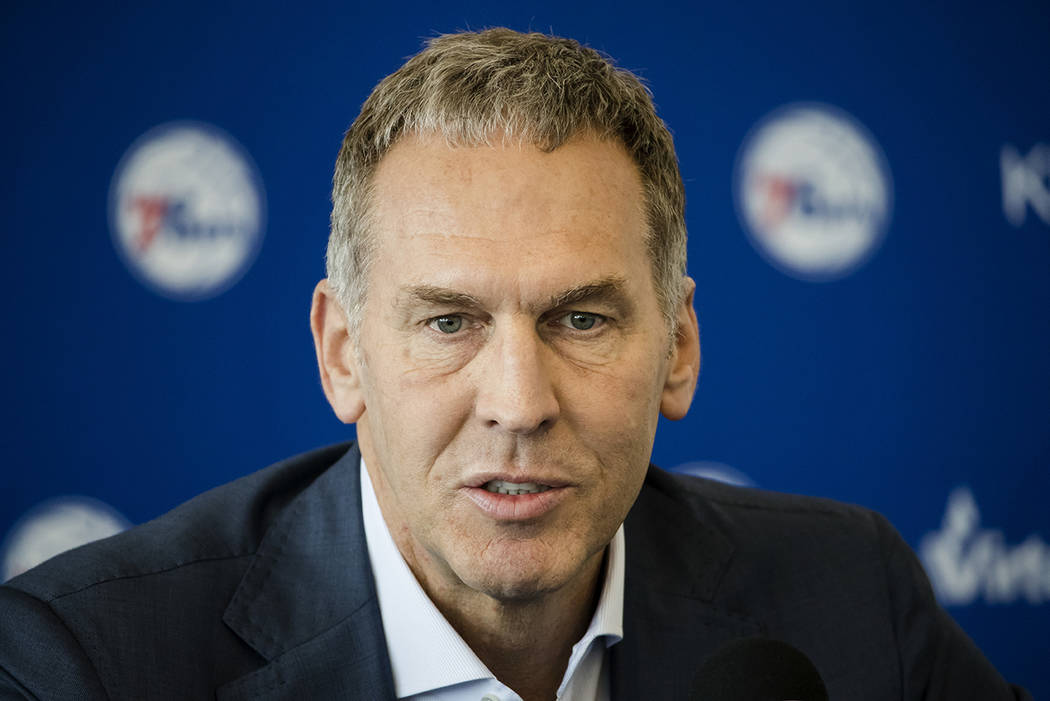 In this May 11, 2018, file photo, Philadelphia 76ers general manager Bryan Colangelo speaks during a news conference at the NBA basketball team's practice facility in Camden, N.J. Colangelo is den ...