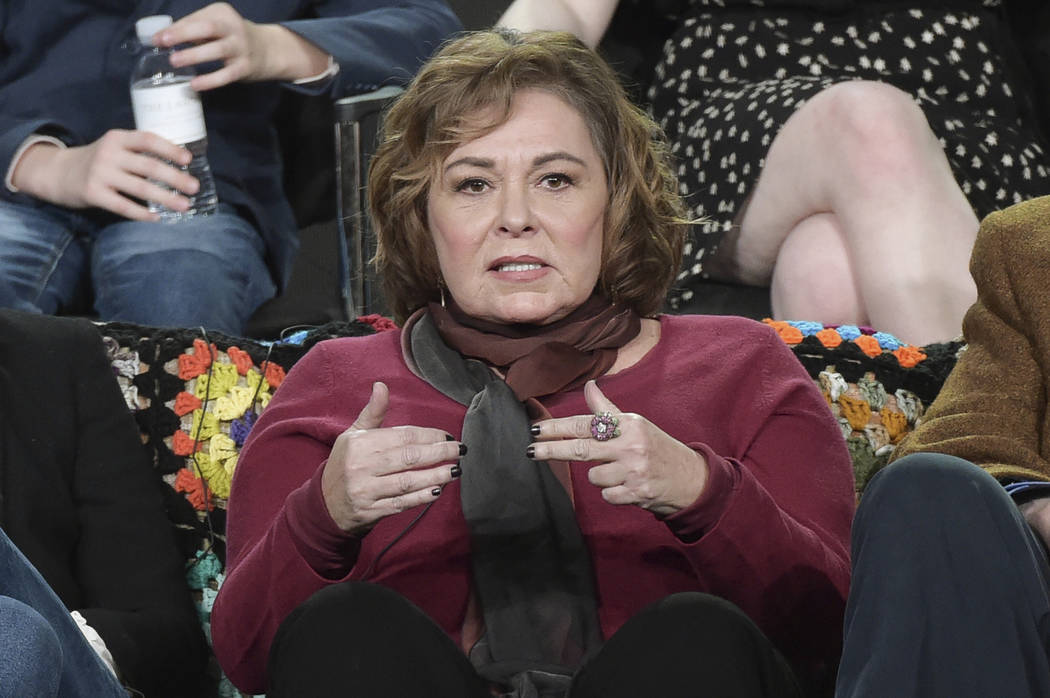 "Roseanne Barr participates in the ""Roseanne"" panel during the Disney/ABC Television Critics Association Winter Press Tour in Pasadena, Calif., Jan. 8, 2018. ABC canceled its hit reboot of ""Roseann ..."