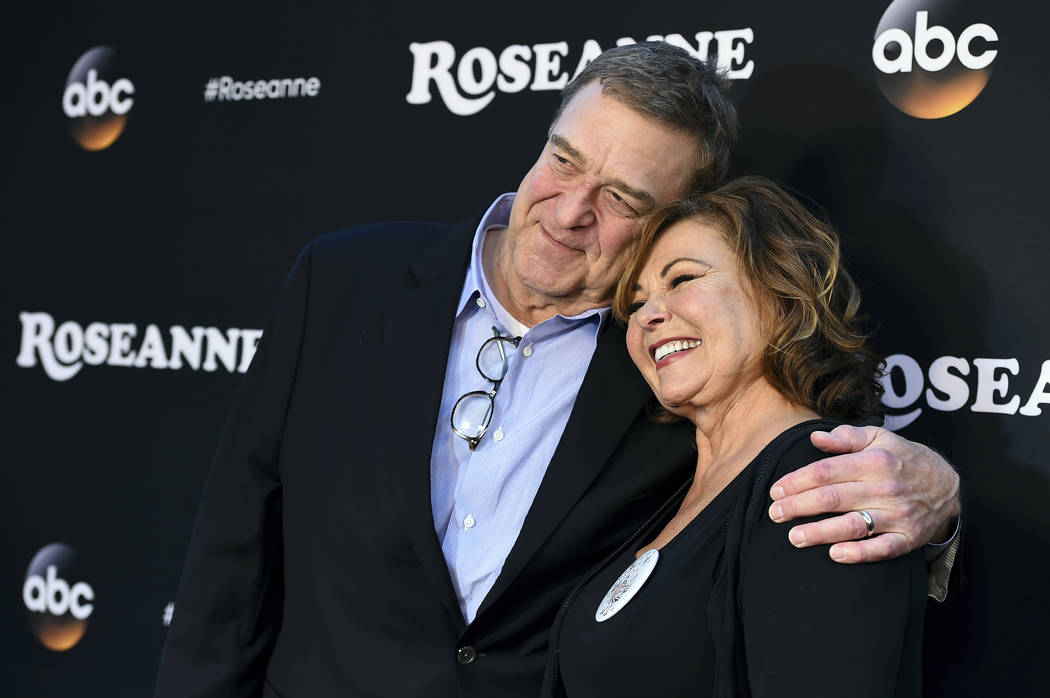 "John Goodman and Roseanne Barr arrive at the Los Angeles premiere of ""Roseanne"" in Burbank, Calif., March 23, 2018. ABC has canceled its hit reboot of ""Roseanne"" following her racially insensi ..."