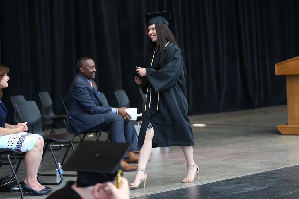 Jacquelyn Trujillo, 18, after receiving her diploma during her graduation from Nevada Virtual Academy at the Henderson Pavilion in Henderson, Thursday, May 31, 2018. Jacquelyn helped her sisters f ...