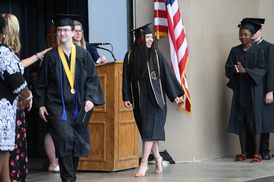 Jacquelyn Trujillo, 18, during her graduation from Nevada Virtual Academy at the Henderson Pavilion in Henderson, Thursday, May 31, 2018. Jacquelyn helped her sisters find safety during the Route ...