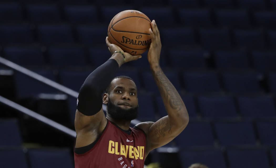 Cleveland Cavaliers' LeBron James shoots during an NBA basketball practice, Wednesday, May 30, 2018, in Oakland, Calif. The Cavaliers face the Golden State Warriors in Game 1 of the NBA Finals on ...