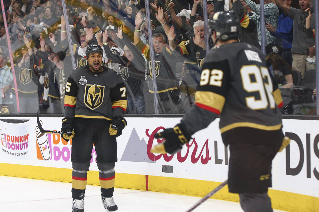 Golden Knights right wing Ryan Reaves (75) reacts to a goal by Golden  Knights 77a09b23e8c