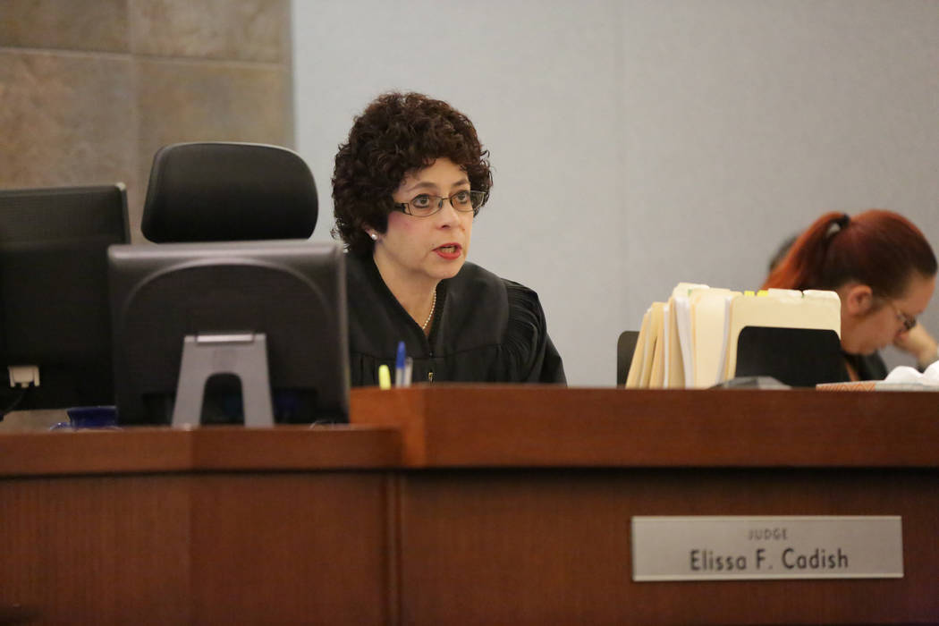 Judge Elissa F. Cadish hands down a judgment to Michael Banco during sentencing on Wednesday, May 30, 2018. (Michael Quine Las Vegas Review-Journal @Vegas88s)