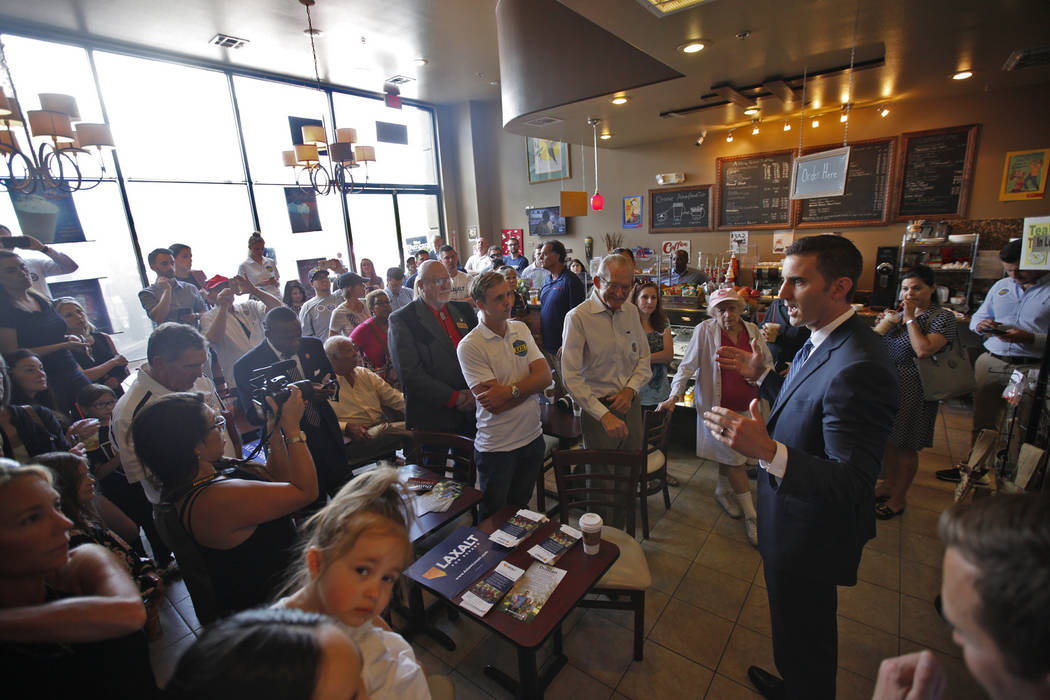 "Wes Duncan, a Republican running for Attorney General, speaks to the crowd at a ""Get-Out-The-Vote"" campaign at Avery's Coffee Shop in Las Vegas, Wednesday, May 30, 2018. Adam Laxalt, a R ..."