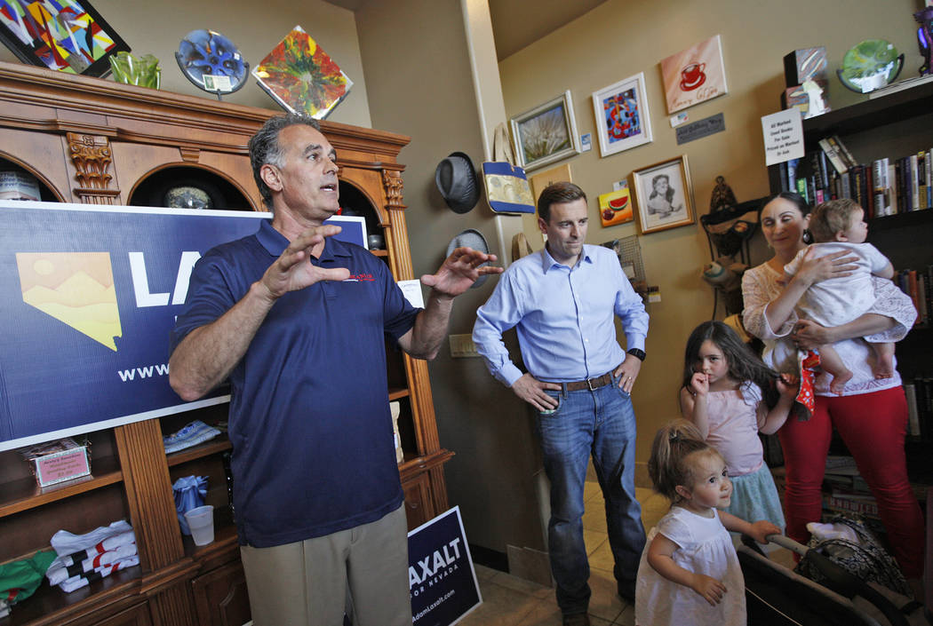 "Danny Tarkanian, a Republican running for 3rd Congressional District of Nevada, speaks to the crowd at a ""Get-Out-The-Vote"" campaign at Avery's Coffee Shop in Las Vegas, Wednesday, May 3 ..."