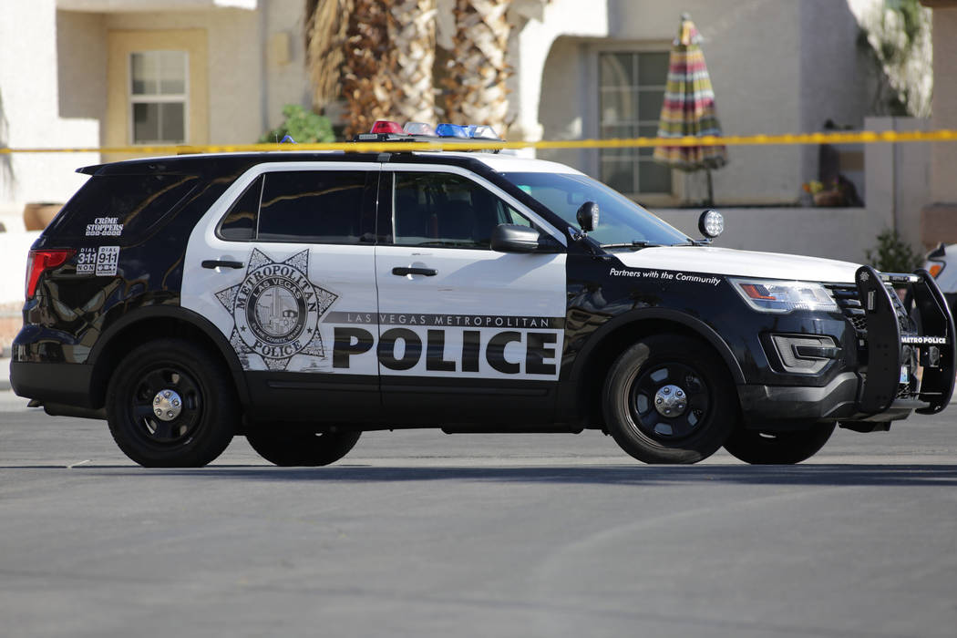 Las Vegas police investigate a home invasion homicide on the 6400 block of Morley Avenue on May 30, 2018 in Las Vegas. (Mike Shoro/Las Vegas Review-Journal)