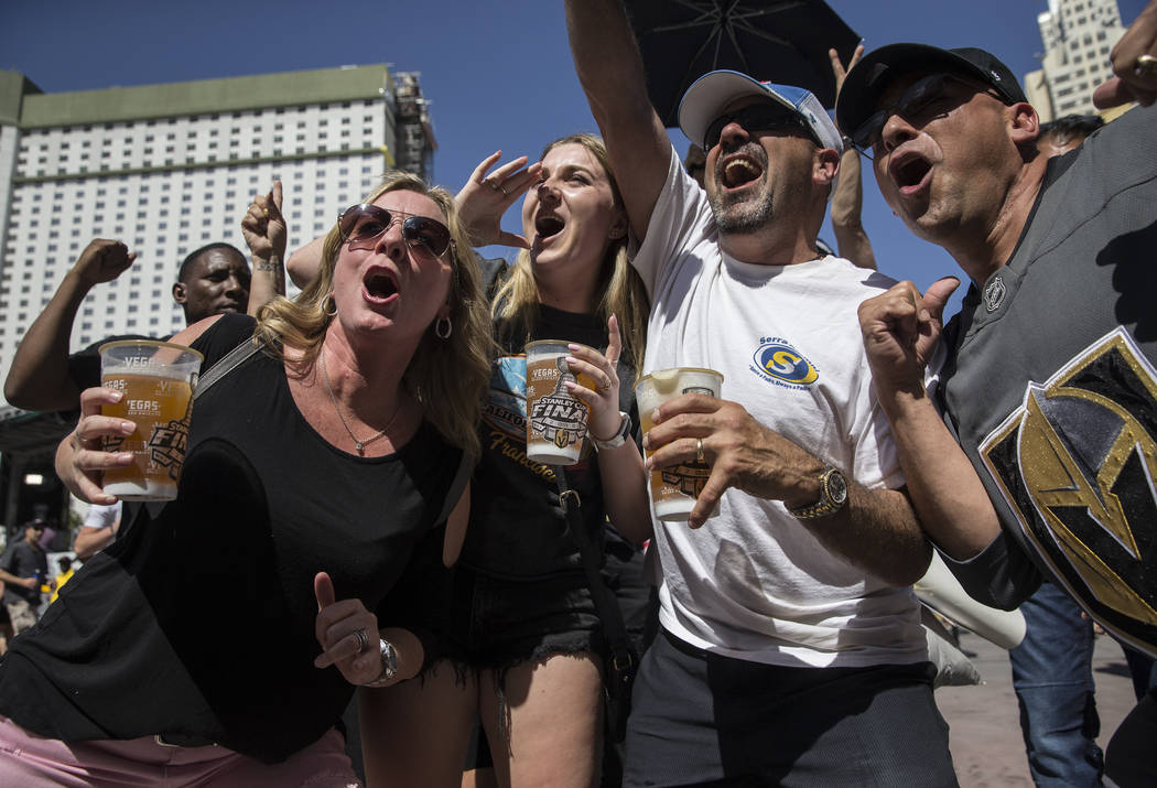 Golden Knights fans cheer for their hometown team outside T-Mobile Arena before the start of Game 2 of the NHL Stanley Cup Finals with the Washington Capitals on Wednesday, May 30, 2018, at T-Mobi ...