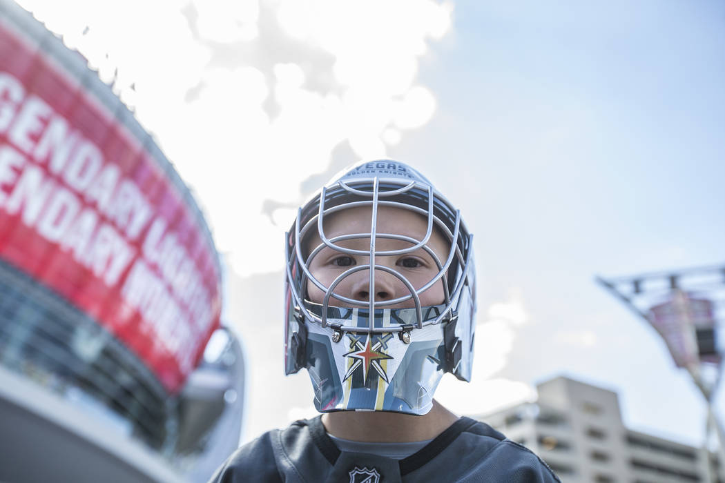 Golden Knights fan Van Endelman outside T-Mobile Arena before the start of Game 2 of the NHL Stanley Cup Finals with the Washington Capitals on Wednesday, May 30, 2018, at T-Mobile Arena, in Las V ...