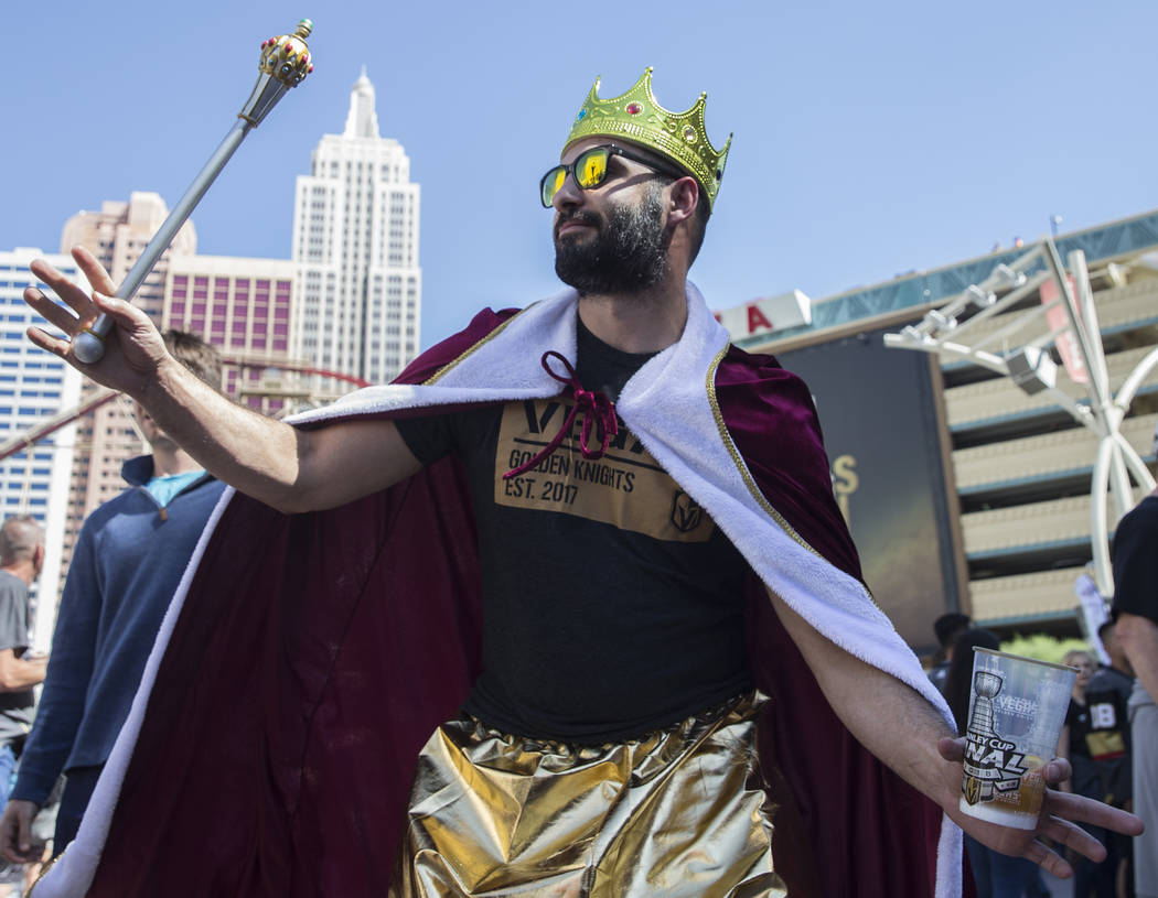 Golden Knights fan Nick Constantine dances outside T-Mobile Arena before the start of Game 2 of the NHL Stanley Cup Finals with the Washington Capitals on Wednesday, May 30, 2018, at T-Mobile Aren ...