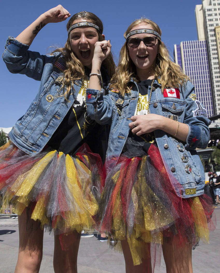 Golden Knights fans Jonni Winn, left, and Haley McDougall outside T-Mobile Arena before the start of Game 2 of the NHL Stanley Cup Finals with the Washington Capitals on Wednesday, May 30, 2018, a ...