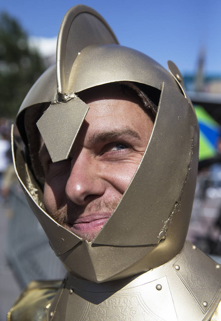 Golden Knights fan Bradley Cochran outside T-Mobile Arena before the start of Game 2 of the NHL Stanley Cup Finals with the Washington Capitals on Wednesday, May 30, 2018, at T-Mobile Arena, in La ...