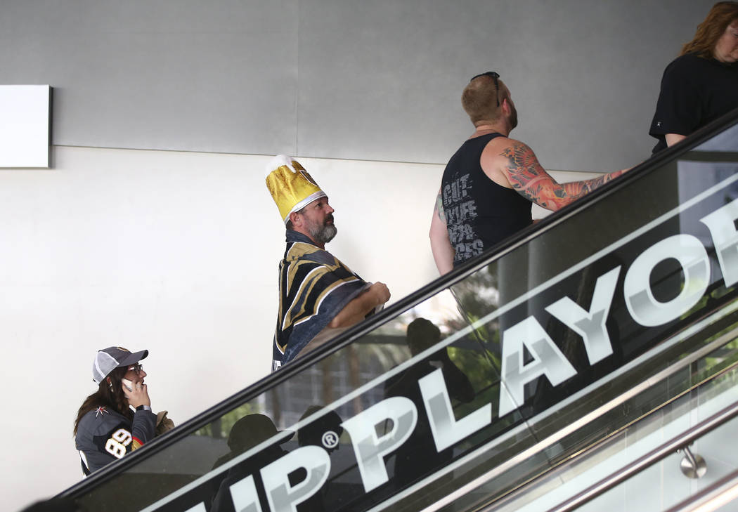 Fans arrive before the start of Game 2 of the NHL hockey Stanley Cup Final between the Golden Knights and Washington Capitals at the T-Mobile Arena in Las Vegas on Wednesday, May 30, 2018. Chase S ...