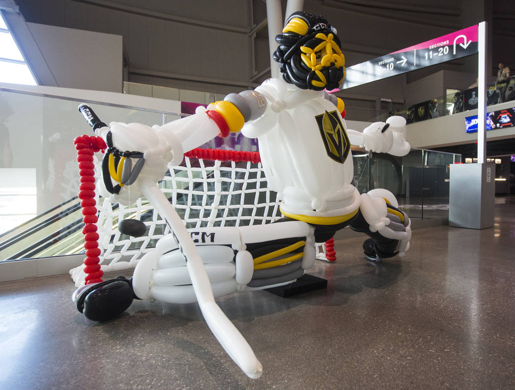 A balloon sculpture of Golden Knights goaltender Marc-Andre Fleury on the concourse before the start of Game 2 of the NHL hockey Stanley Cup Final between the Golden Knights and Washington Capital ...